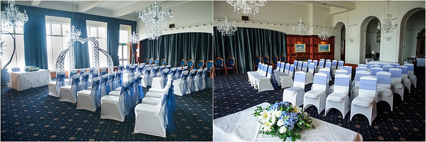 The wedding ceremony room at the Altantic Hotel in Newquay