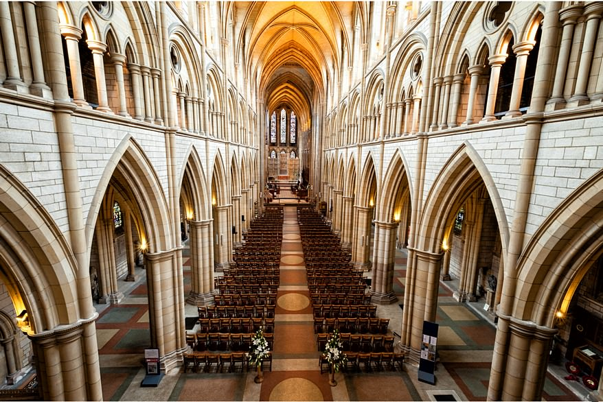 belcony view of a Truro Cathedral wedding