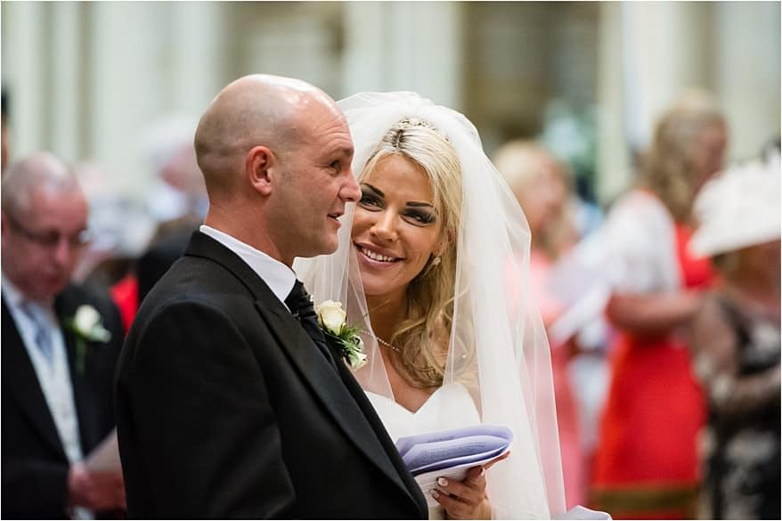 Happy bride at a Truro Cathedral wedding