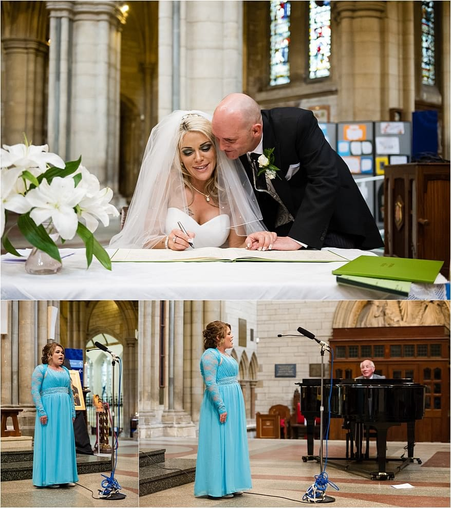 Brides daughter singing at a Truro Cathedral wedding