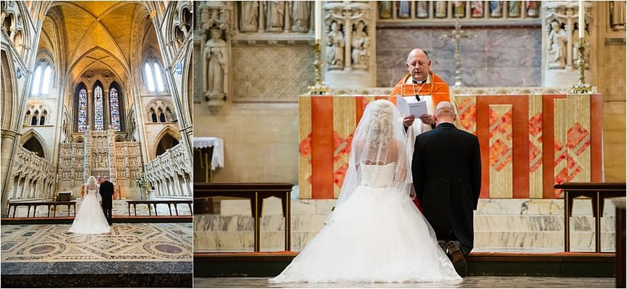 Bride and groom at the alter at Truro Cathedral