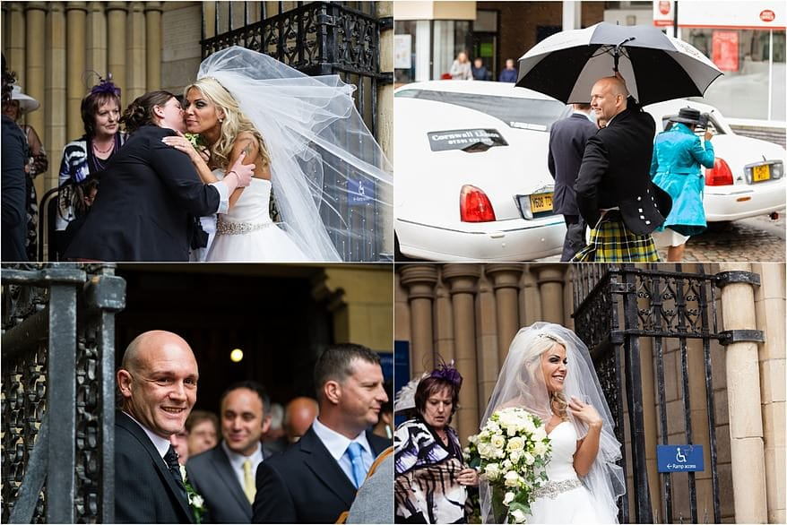 Candid shots of the bride ouside the Cathedral in Truro