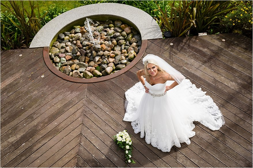 Bride on the decking at a St Michael's Hotel Wedding