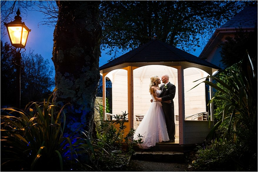 Dramatic photo of the bride and groom at a St Michael's Hotel Wedding