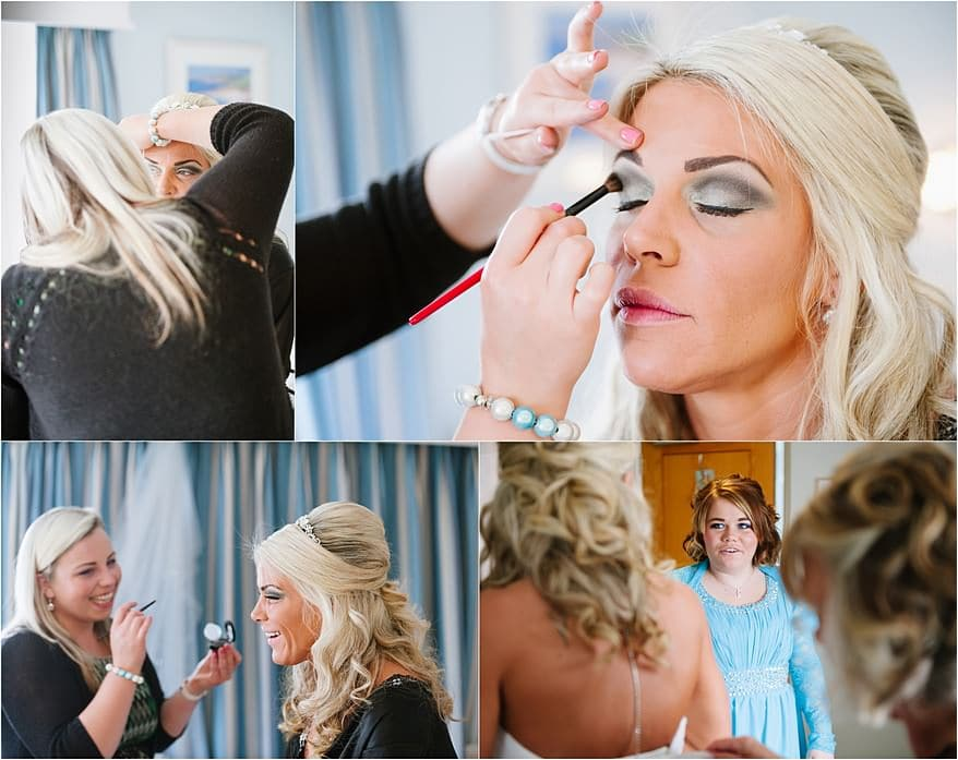 Make up photographs in the bridal suite at St Michael's Hotel