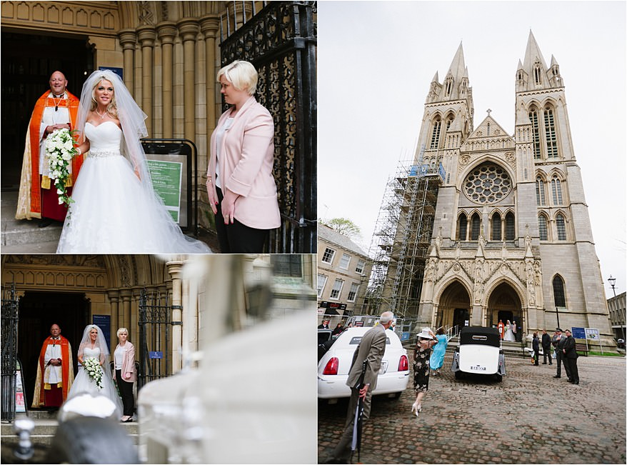 Bride about to get married at Truro Cathedral