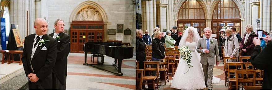 Bride walking down the isle at Truro Cathedral