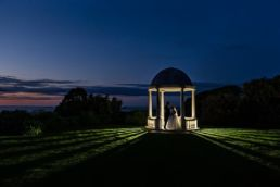 Tregenna Castle's pavillion with the bride and goom