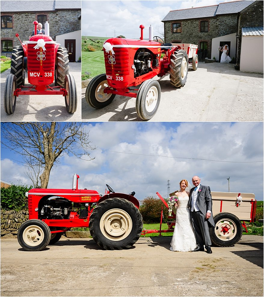 Bride and her father with their vintage red tactor