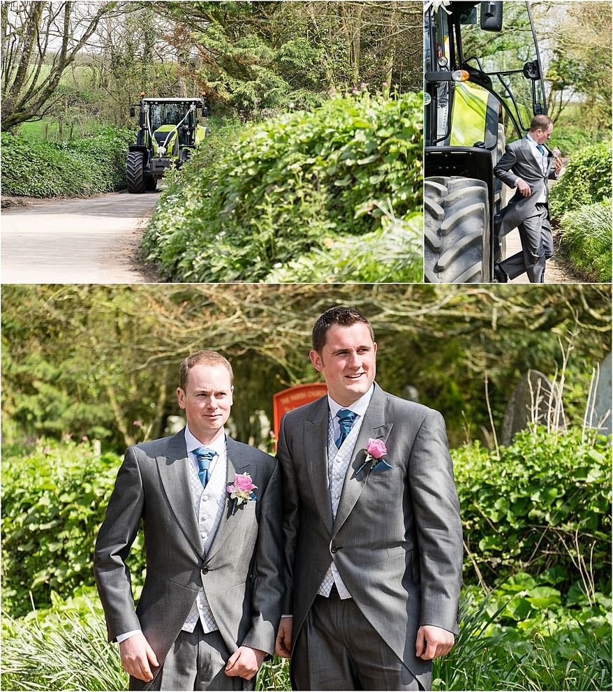 Groom and his bestman outside the church at St Allen Church