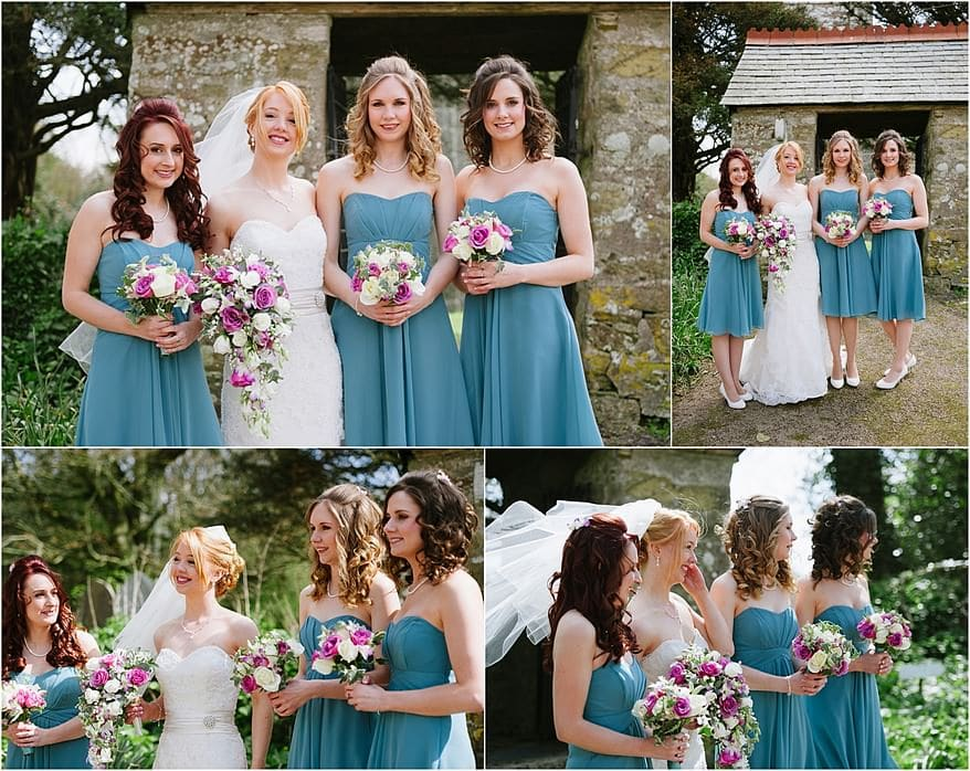 Bride and bridesmaid outside St Allen Church
