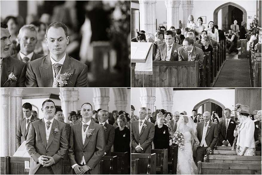 Black and white photograph inside a St Allen Church Wedding