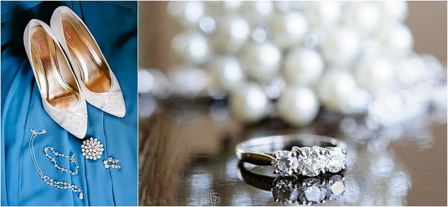 wedding details and a close photograph of the engagment ring