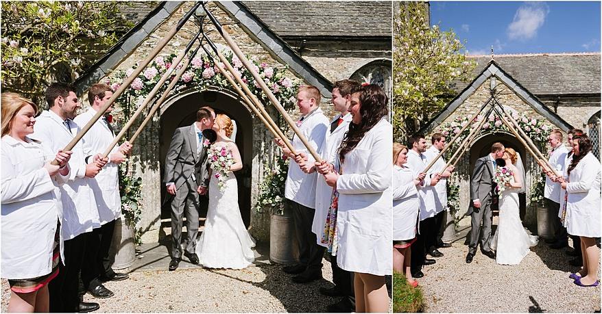 guard of honour at St Allen Church wedding