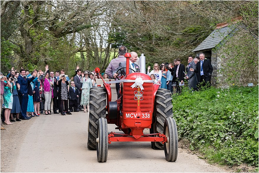 Wedding cart and vintage red tractor