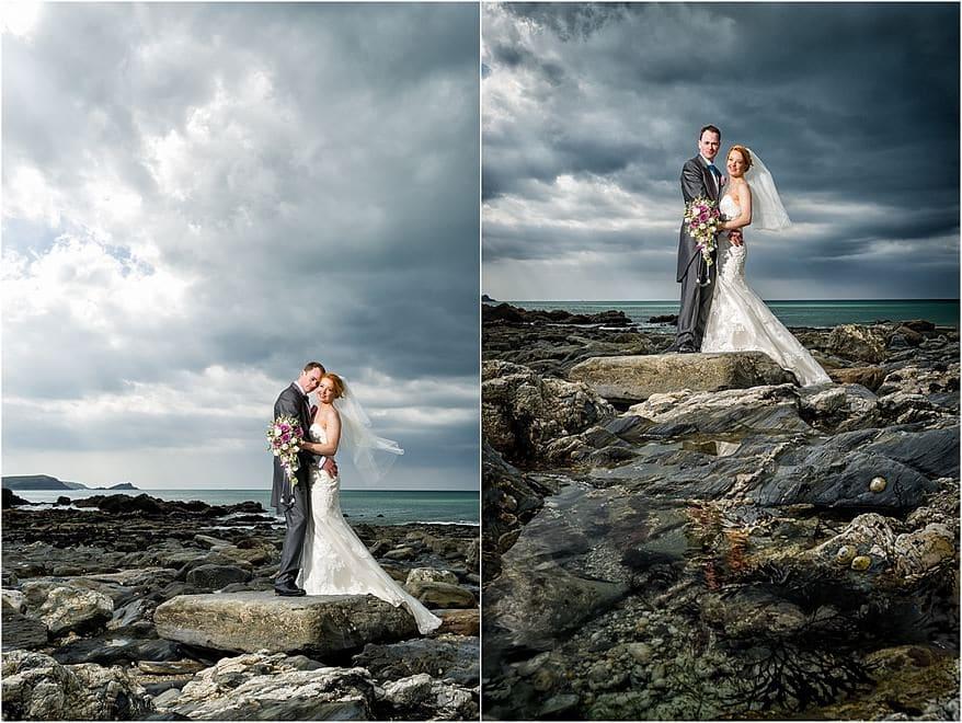 wedding at the Atlantic Hotel 2 wedding photographs on the rocks at Firstal beach