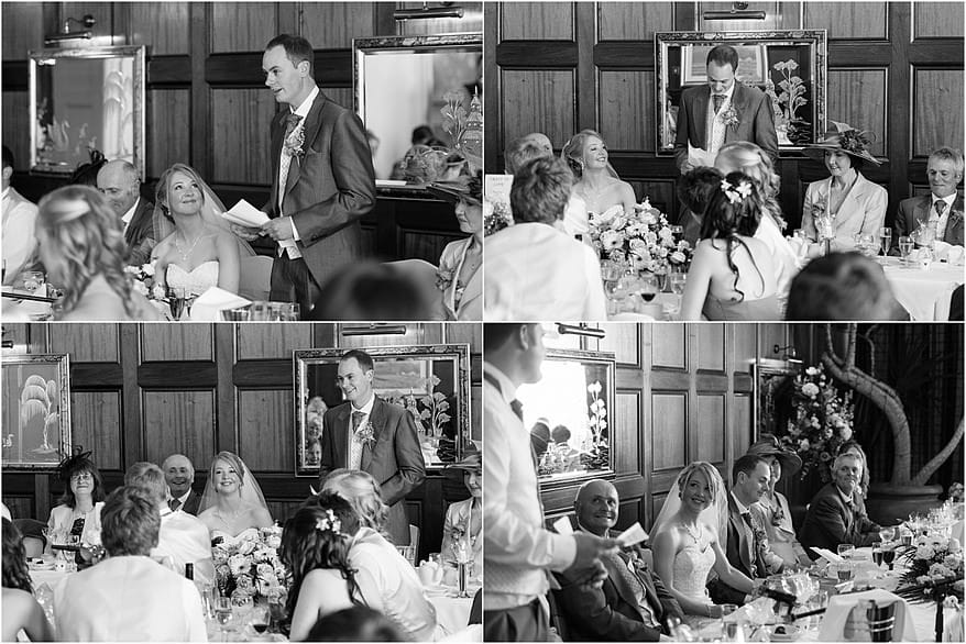 Black and white photographs of the wedding speaches at the Atlantic Hotel