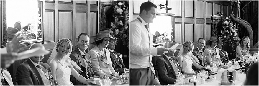 Black and white photographs of the wedding speaches at the Atlantic Hotel 1