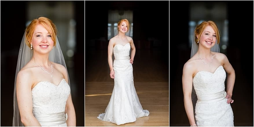 A beauiful bride in the ballroom at the Atlantic Hotel