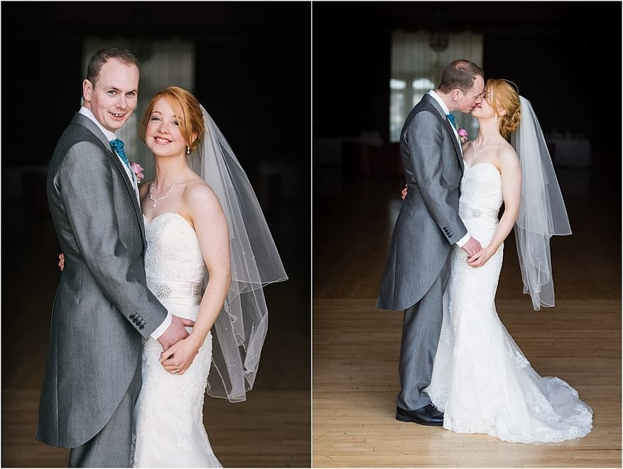 A beauiful bride and groom in the ballroom at the Atlantic Hotel