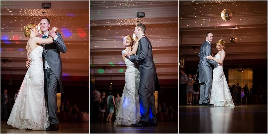 Bride and groom dancing in the ballroom at the Atlantic Hotel