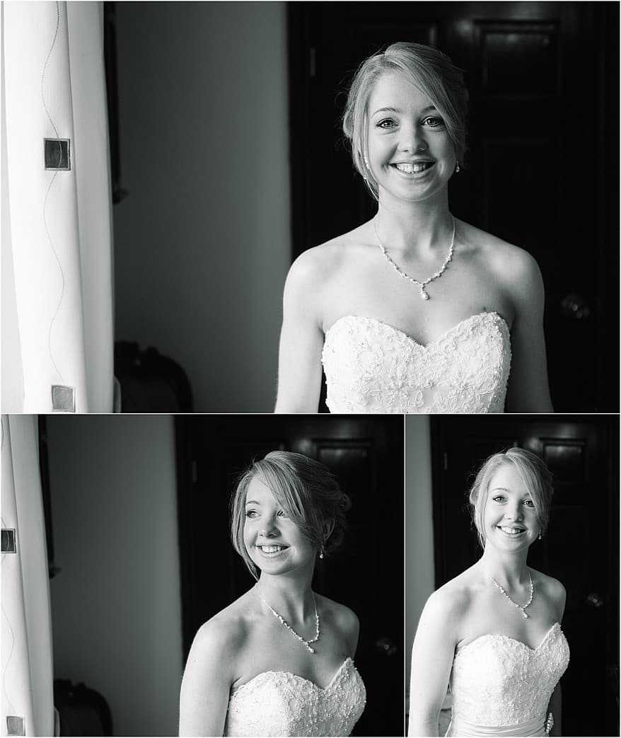 black and white photograph of the bride in window light