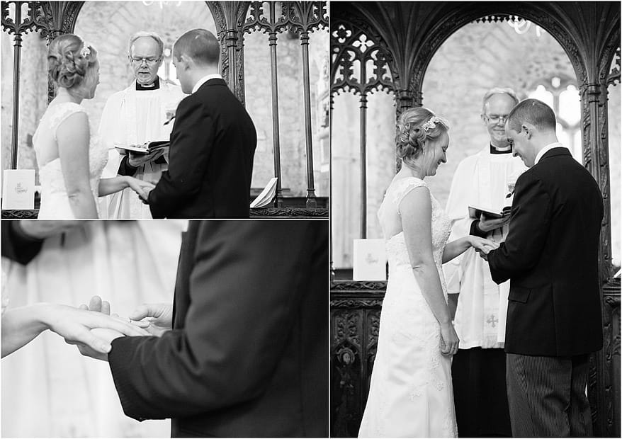 exchanging of rings for a wedding at Budock Church