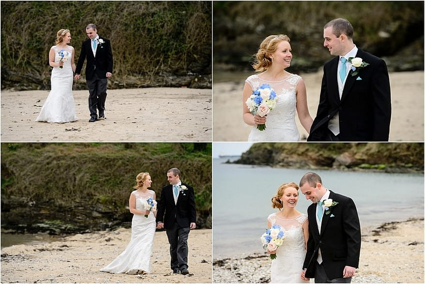 Bride and groom walking at Maenporth beach