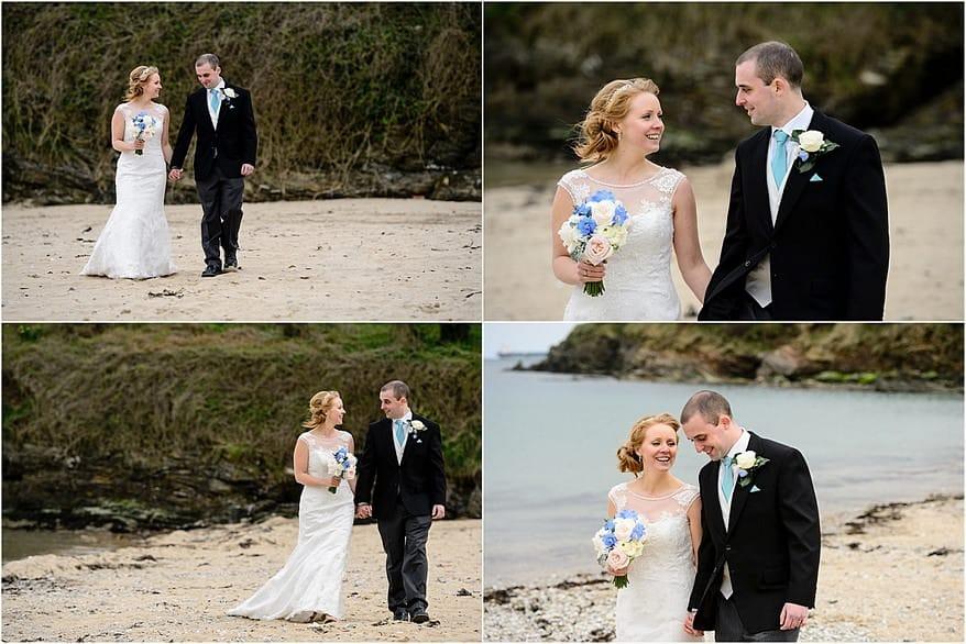 Bride and groom walking at Maenporth beach