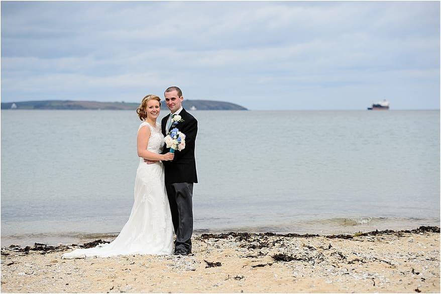 bridal portrait for a wedding at Maenporth beach