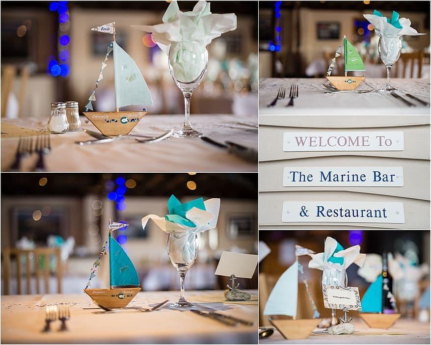 wedding tables for a wedding at Falmouth Marine bar