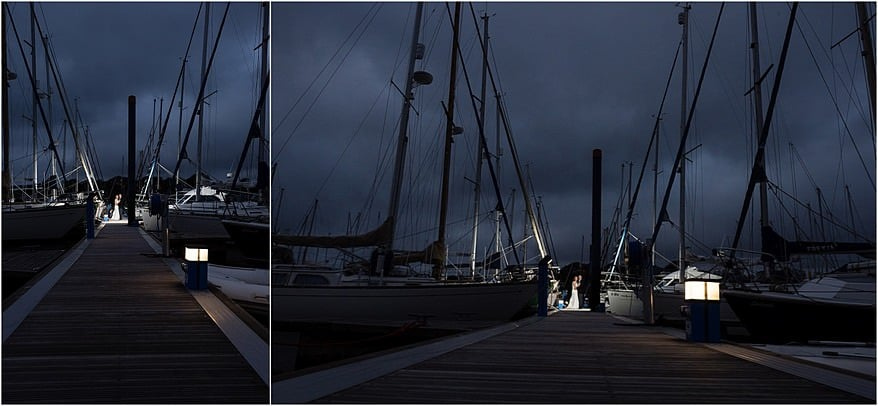Falmouth Marina at night with the bride and groom
