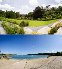panoramic view from a wedding at Trebah Garden