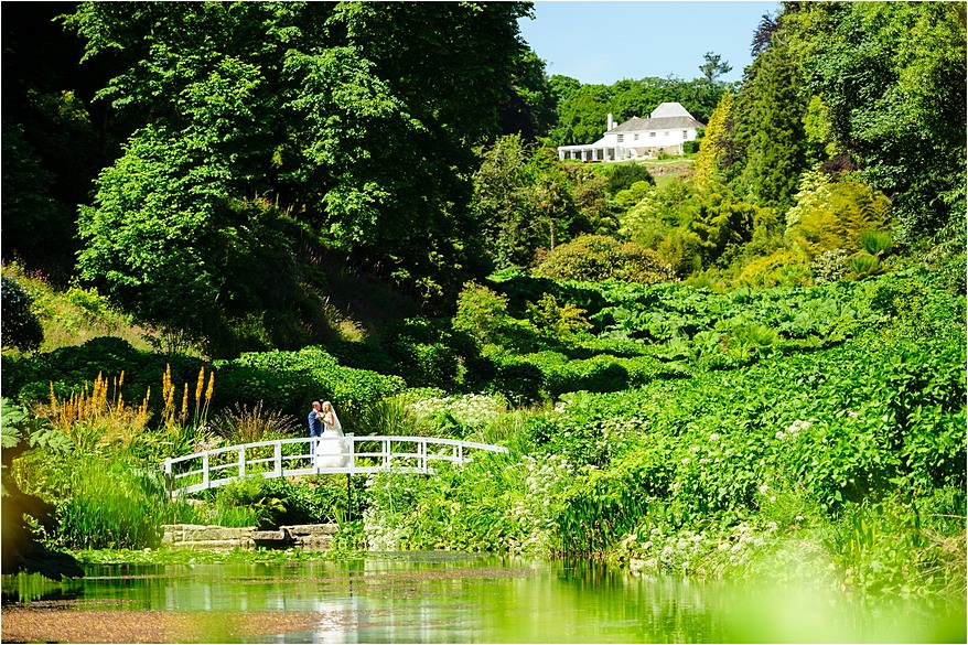 The bride over the lake at Trebah Garden
