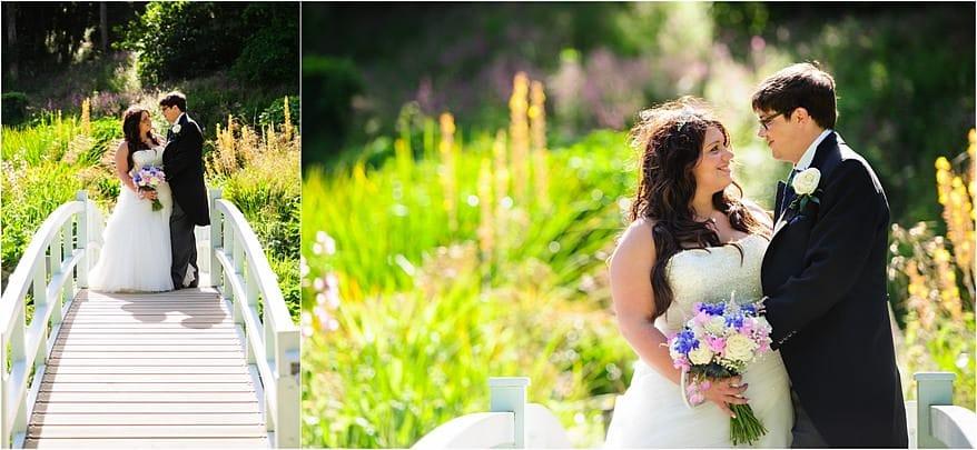 Bride and groom on the bride at Trebah Garden