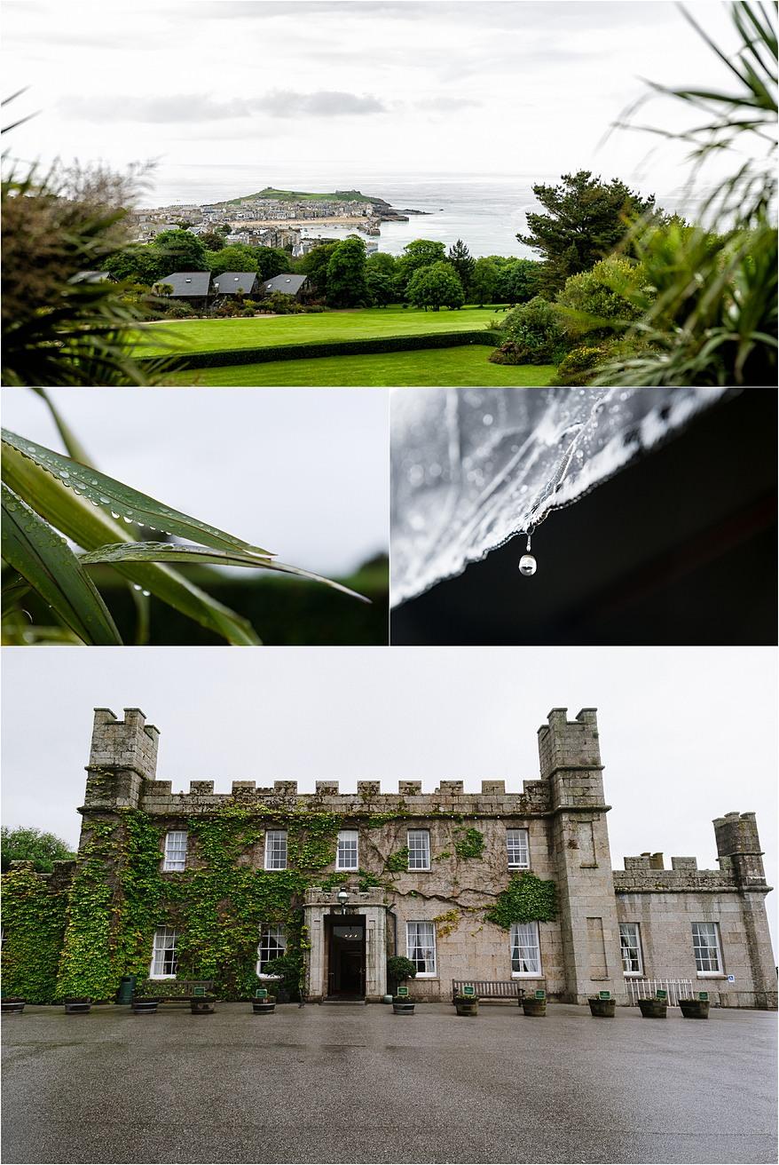 a very wet wedding day at Tregenna Castle