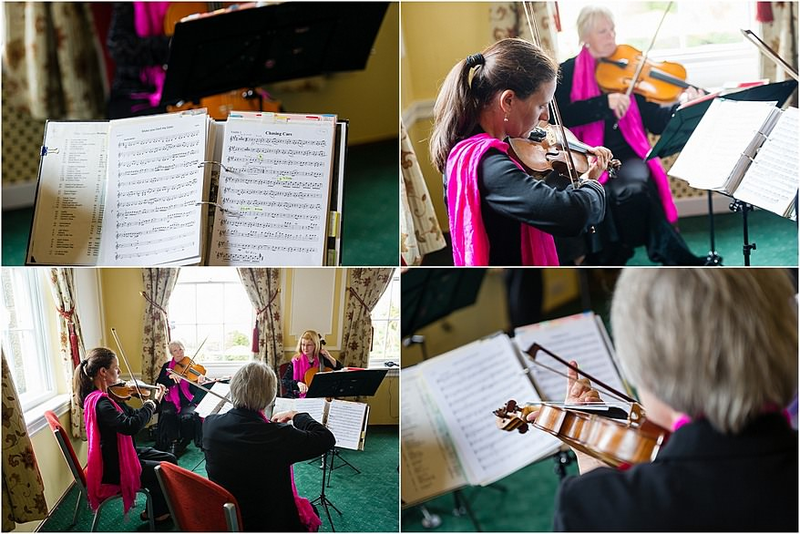 String quartet playing at the wedding cermony at Tregenna Castle