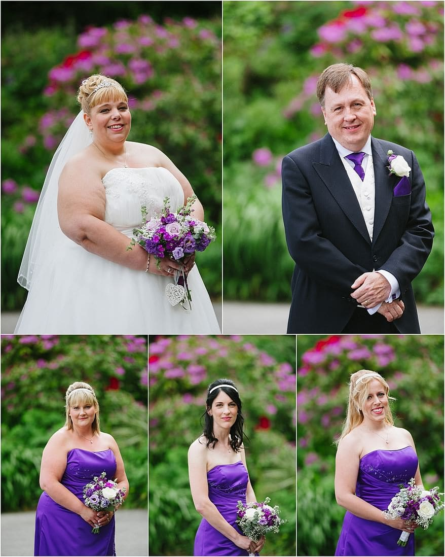 Bridal party portraits with the beautiful gardens at Tregenna Castle in the background