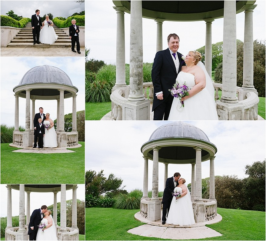Bride and groom kissing in the Pavillion at Tregenna castle