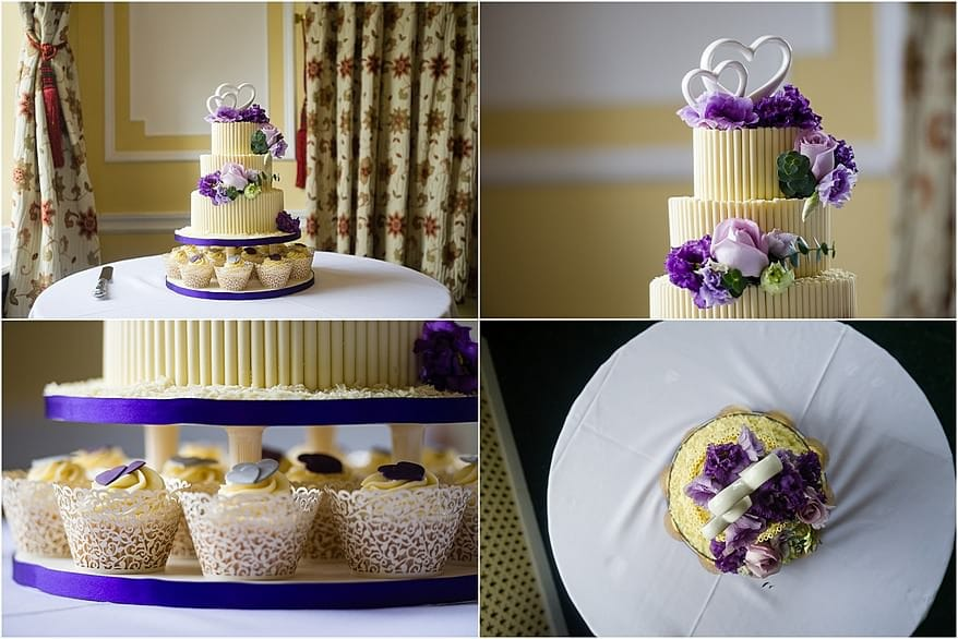 2 tier white chocolate wedding cake and cupcake at a Tregenna Castle wedding