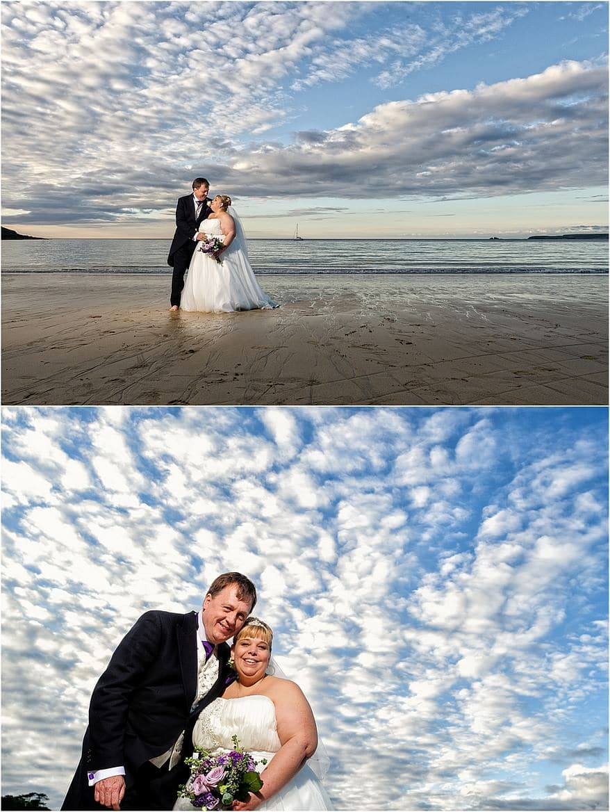 Stunning sunset skies over Carbis Bay hotel for a my wedding photography at Tregenna Castle