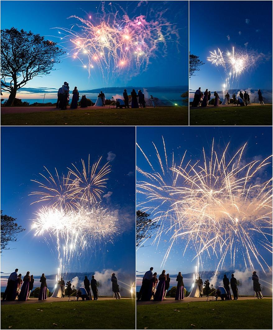 Fireworks after a wedding at Tregenna Castle