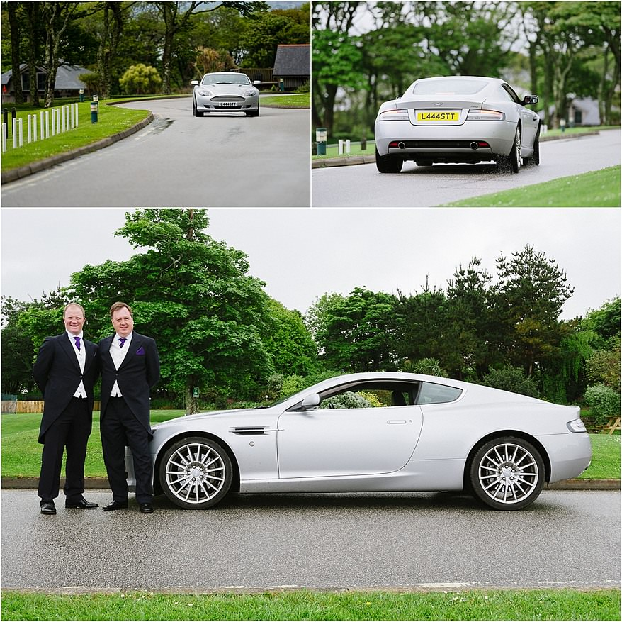 Broom and bestman with an Aston Martin DB9 at Tregenna Castle