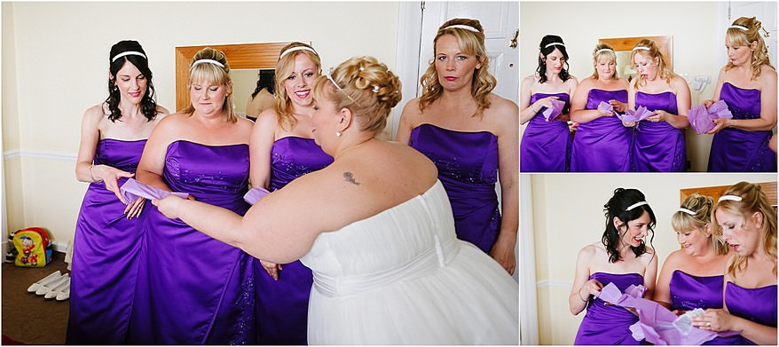 Bride giving out gifts to her bridesmaids at a Tregenna Hotel wedding