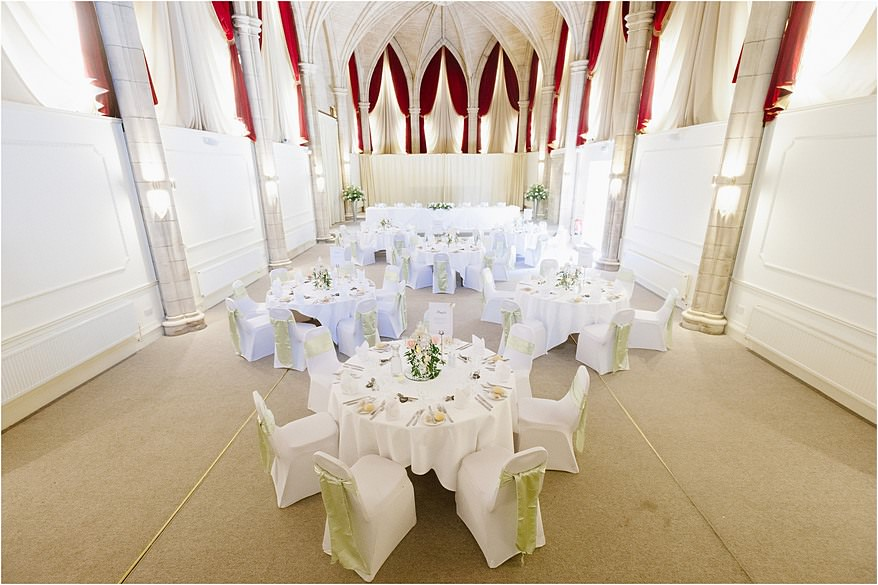 Wedding Breakfast inside the Great hall at the Alverton Hotel