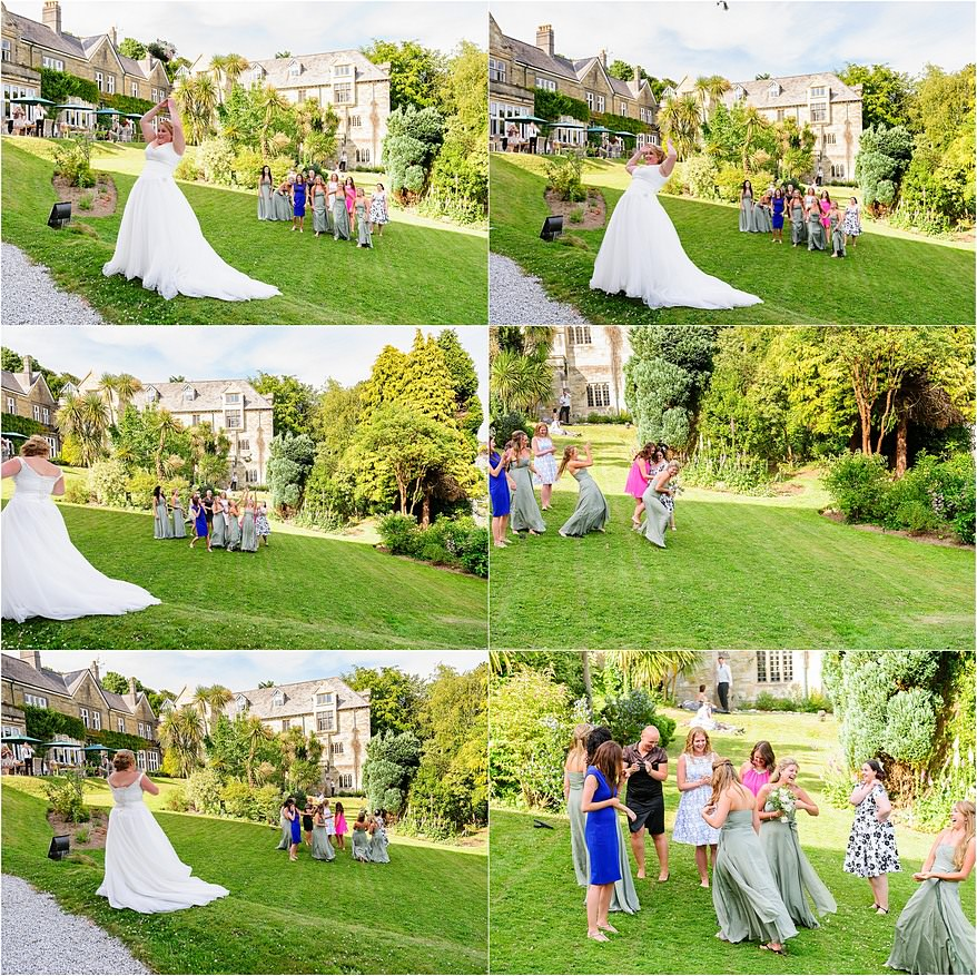Bouquet toss on the lawn at the Alverton Hotel