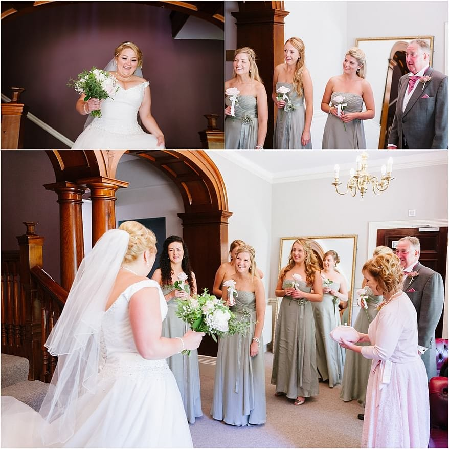 First glimpse of the bride in her wedding dress at The Alverton Hotel