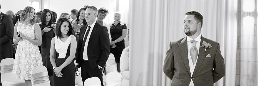 Candid photographs of wedding guests in the Great Hall
