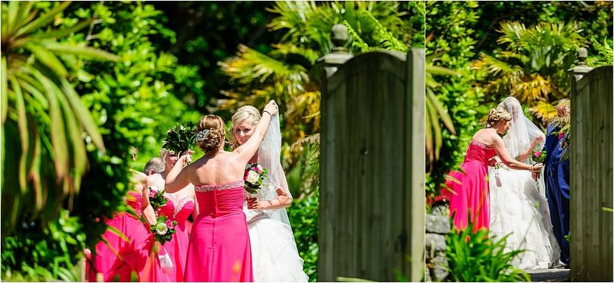 Bride about to get married at her Trebah Garden wedding