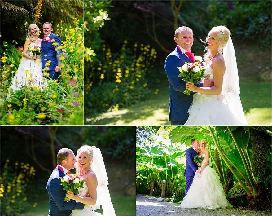 Bridal photographs in the gardens at a Trebah Garden wedding
